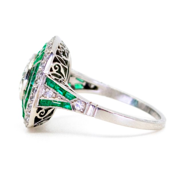 Diamond, Emerald, Platinum Ring 6531LA Image3