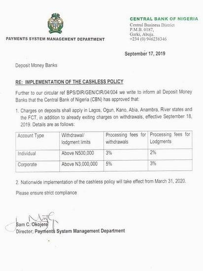 Di September 2019 statement wey CBN comot on cashless policy