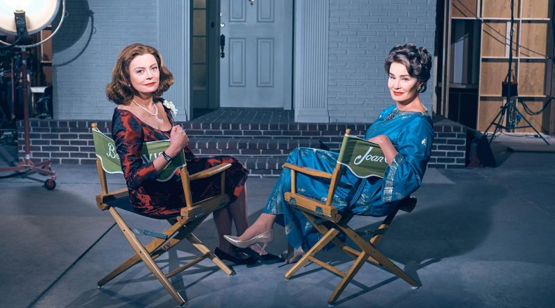 Feud's Bette Davis (Susan Sarandon) and Joan Crawford (Jessica Lange)
