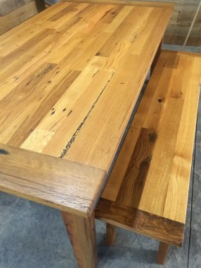 Reclaimed Oak Farmers Table with matching benches