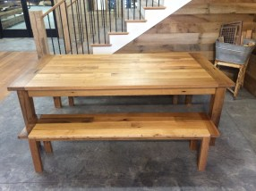 Reclaimed Oak Farmers Table with matching Benches and Tung Oil Finish