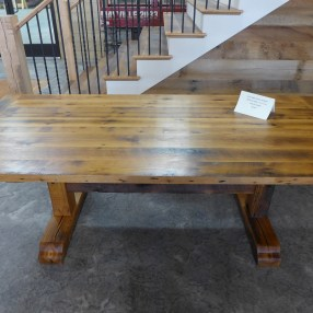 Reclaimed Oak Trestle Table with Tung Oil Finish