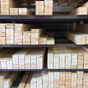 Lumber bins are sorted for grade, length and width.