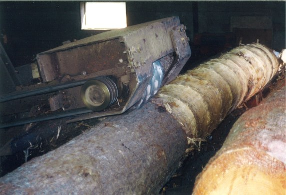 This machine takes the bark off the logs to prepare them for milling.