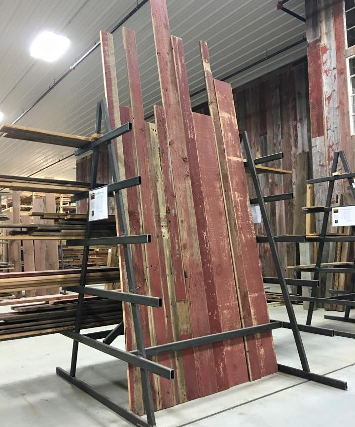 Reclaimed Barnboard can be found with the authentic red colored paint.