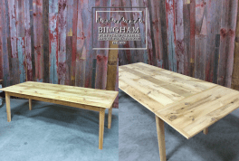 This reclaimed pine top has a great extension that can be easily inserted to accommodate company.