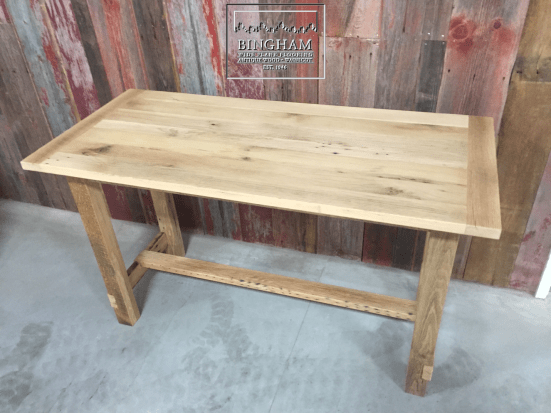 This table was made at the bar height with this slimmed down trestle base.