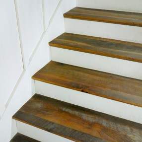 Our Kendall Road flooring transitions really well into stair treads with its rustic texture and durable material.