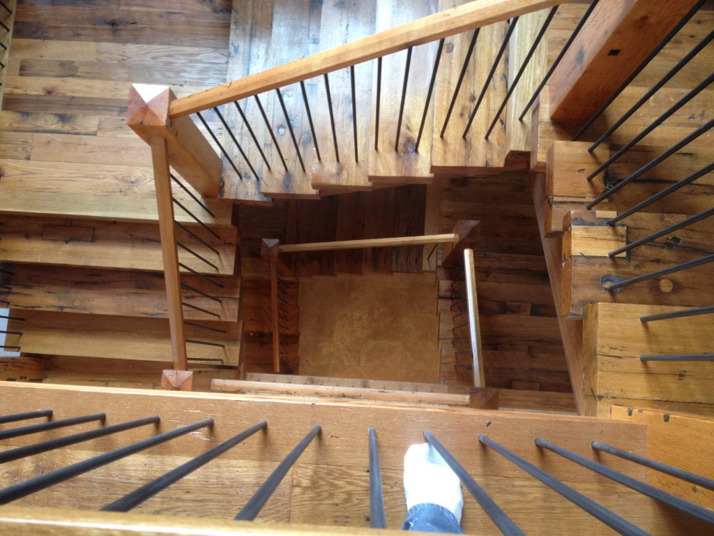 Downward View Of These Natural Grade Reclaimed Oak Staircase Outfitted With Custom  Treads, Handrails And