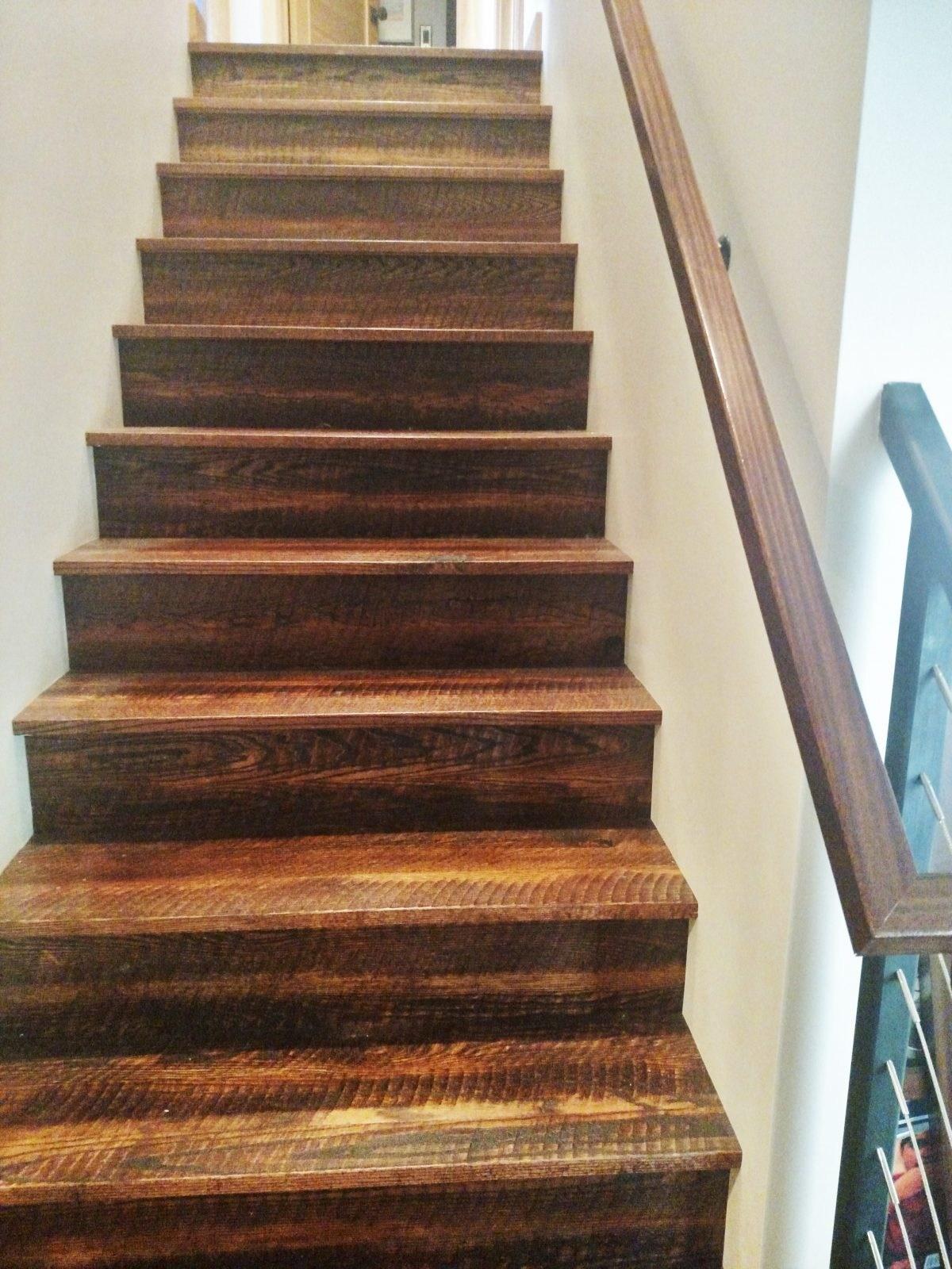 Rustic Red Oak Stair Treads And Risers – Bingham Lumber | Red Oak Stair Treads | Non Slip | Bullnose Manufacturing | Modern | Dark Stain | Wood