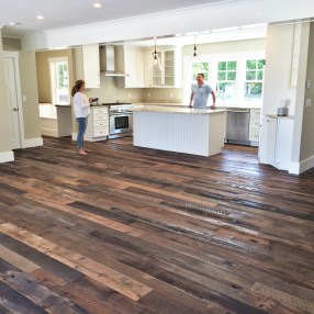 Rough textured reclaimed white and red oak flooring.
