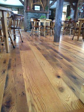 Wide Plank Reclaimed Oak Flooring in a local restaurant.
