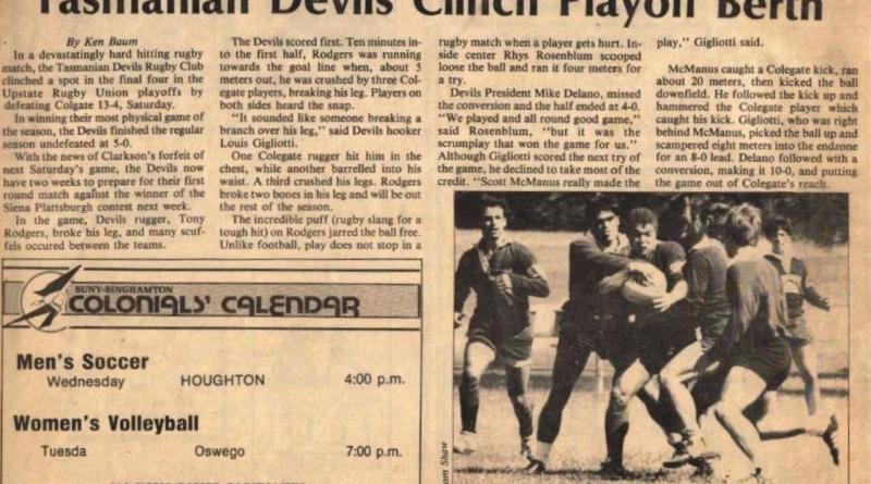 Tasmanian Devils Clinch Playoff Berth - BU Pipe Dream 1985
