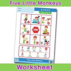 Five Little Monkeys Worksheets BINGOBONGO BINGO 2