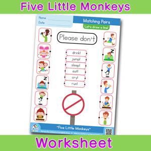 Five Little Monkeys Worksheets BINGOBONGO Matching Time 5