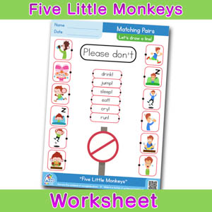 Five Little Monkeys Worksheets BINGOBONGO Matching Time 5