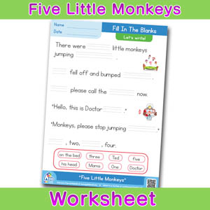 Five Little Monkeys Worksheets BINGOBONGO Fill In The Blanks