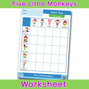 Five Little Monkeys Worksheets BINGOBONGO Game Time 1