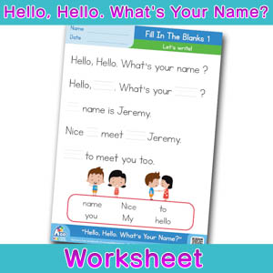 Hello Whats Your Name Worksheet fill in the blanks 1