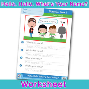 Hello Whats Your Name Worksheet question time 1