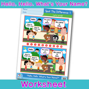 Hello Whats Your Name Worksheet spot the difference 1