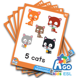 Five Cats (1,2,3,4,5) Counting Numbers + Animals ESL Educational Flashcard Pack