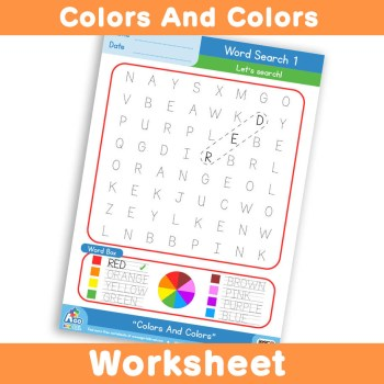 Free Colors And Colors Worksheet - Word Search 1