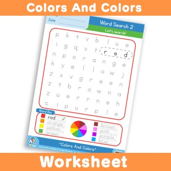 Free Colors And Colors Worksheet - Word Search 2