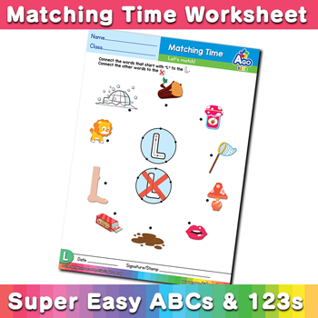 Words that start with L Phonics Matching Time