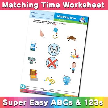 Words that start with M Phonics Matching Time