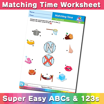 Words that start with N Phonics Matching Time