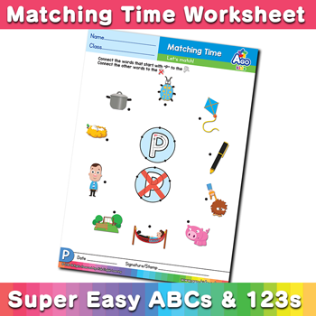 Words that start with P Phonics Matching Time