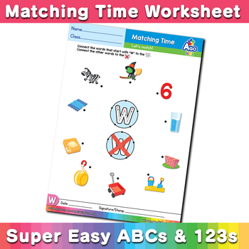 Words that start with W Phonics Matching Time