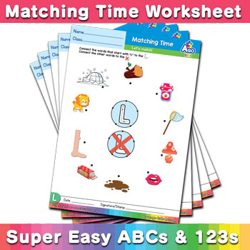 Words that start with Letters Phonics Matching Time