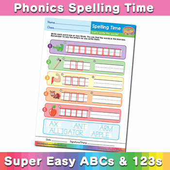 Phonics Spelling Worksheet Letter A