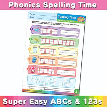 phonics spelling time worksheets letter j super easy abcs and 123s fun book bingobongo. Black Bedroom Furniture Sets. Home Design Ideas