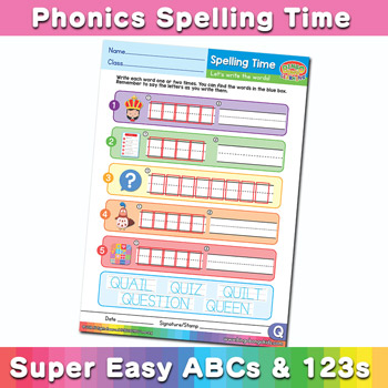 Phonics Spelling Worksheet Letter Q