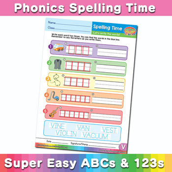 Phonics Spelling Worksheet Letter V