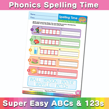 Phonics Spelling Worksheet Letter W