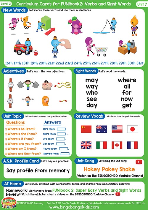 Free Curriculum Card Level 2 Unit 7