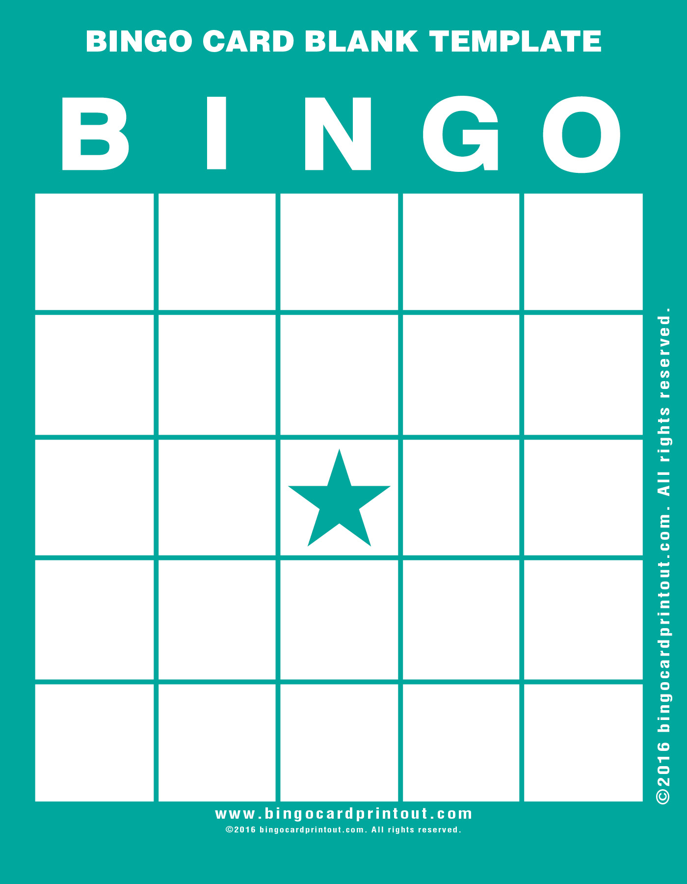 Bingo Card Blank Template