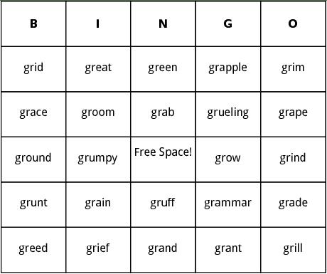 Word Bingo Template Printable