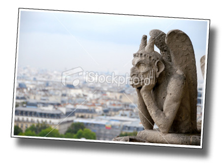 Chimera, grotesque, gargoyle, demon, Notre-Dame Paris, France. September ภาพที่สองที่ผ่านการตรวจ 24 พย 2551