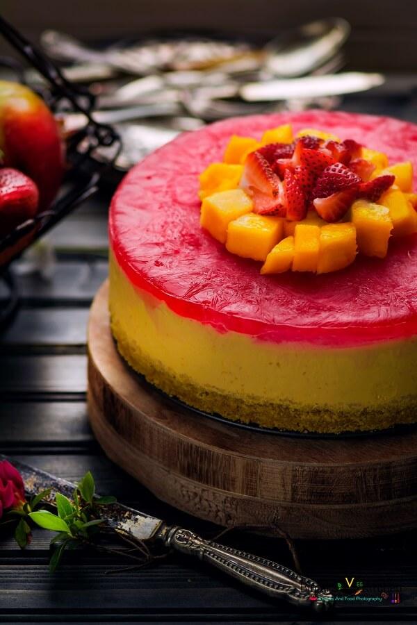 No Bake Eggless Mango Cheesecake Photography