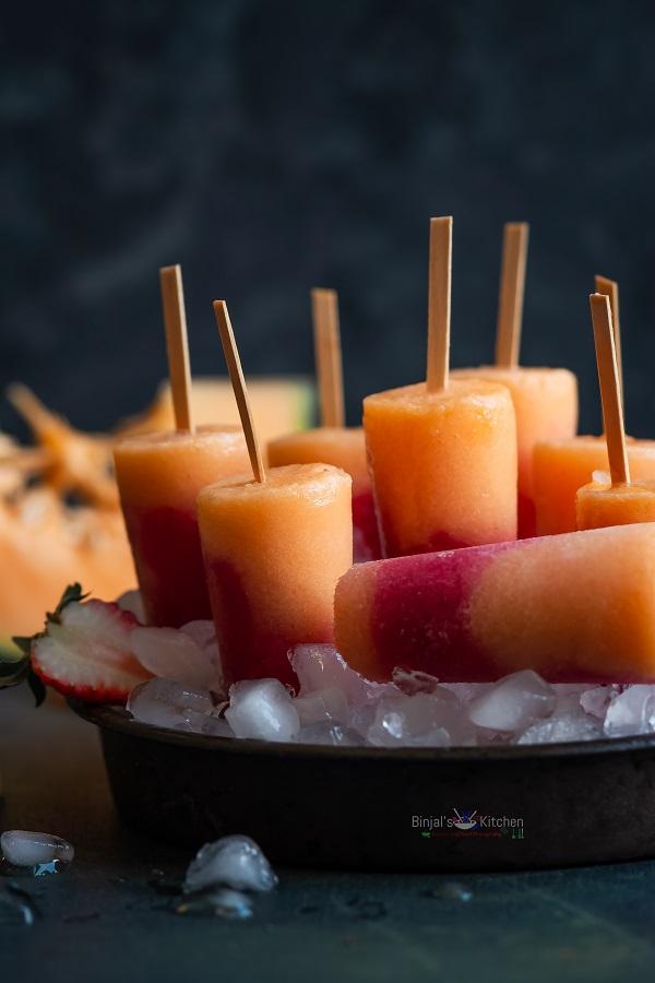 Cantaloupe Strawberry Ice Pops