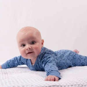 Cute baby in BiNKi blue jumpsuit