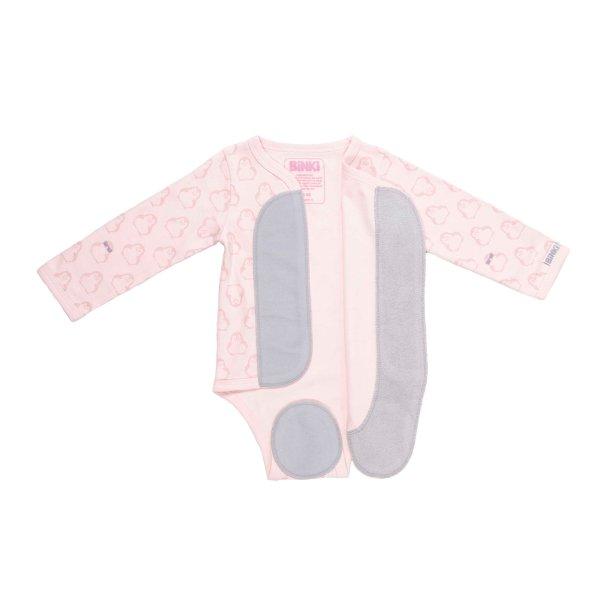 Kimono romper long sleeve penguin print pink front - full open - BiNKi
