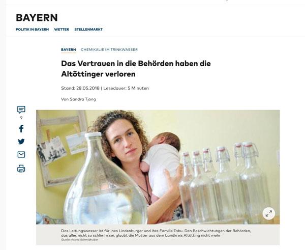 Die Welt: Artikel – Chemikalien im Wasser – 28.5.2018 – Das Vertrauen der Behörden haben die Altöttinger verloren