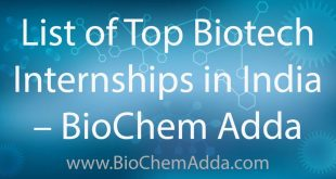 List of Top Biotech Internships in India | BioChem Adda