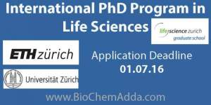 International PhD Programs | Life Sciences @ ETH Zurich and University of Zurich, Switzerland Life Science Zurich Graduate School. BioChem Adda